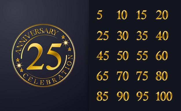 Vintage 25e verjaardag inspiratie gouden lijn kleur viering embleem ontwerp.