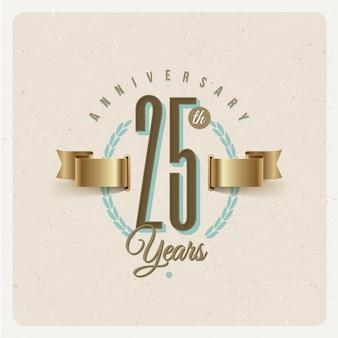 Vintage 25e verjaardag jubileum embleem met gouden lint en lauwerkrans - illustratie