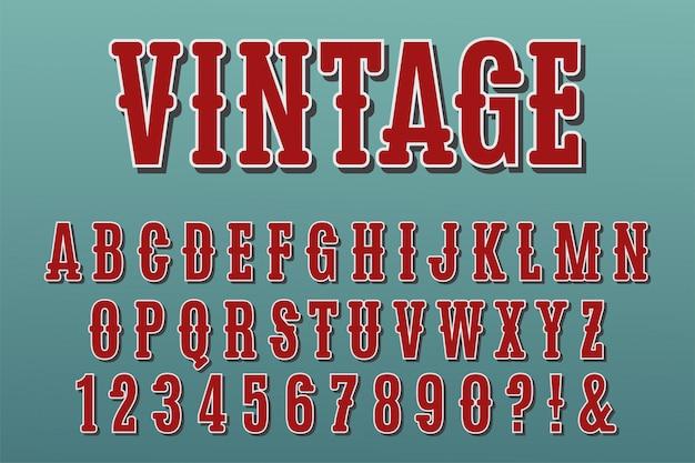 Vintage 3d-alfabetletters, cijfers en symbolen.