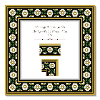 Vintage 3d frame van garden antique daisy flower vine