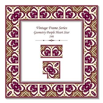 Vintage 3d-frame van geometrie purple heart star
