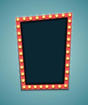 Vintage 3d-licht retro frame