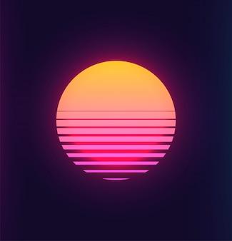 Vintage 80s kleurrijke retro zonsondergang futuristische achtergrond