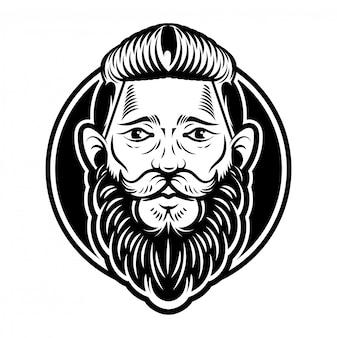 Vintage aangepaste grafische gravure hipster gezicht man kapper viking met grote zwarte baard snor en stijlvol kapsel. moderne stijl illustratie. retro uithangbord label.