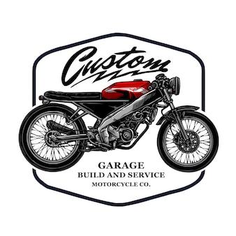 Vintage aangepaste motorfiets badge sjabloon
