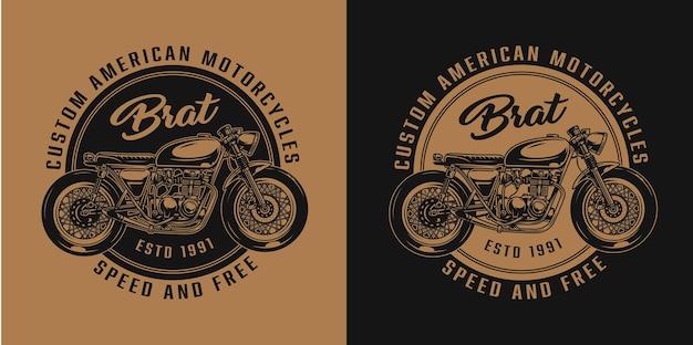 Vintage aangepaste motorfiets ronde badge met motor in zwart-wit stijl