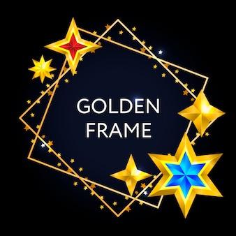 Vintage abstracte kerstkaart met sterren frame kerst vector design element.