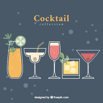 Vintage achtergrond met cocktails in plat ontwerp