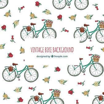 Vintage achtergrond met fietsen en bloemen