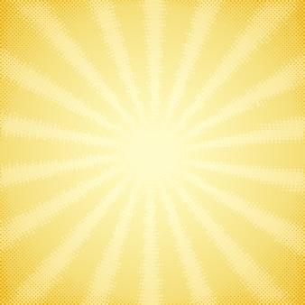 Vintage achtergrond met halftone zonnestralen