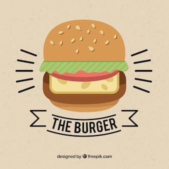 Vintage achtergrond met hamburger in minimalistische stijl