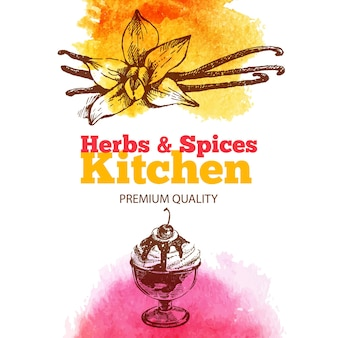 Vintage achtergrond met hand getrokken schets en aquarel keuken kruiden en specerijen. menu ontwerp