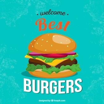 Vintage achtergrond met heerlijke hamburger