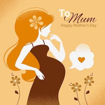 Vintage achtergrond met silhouet van mooie zwangere vrouw. kaarten van happy mother's day