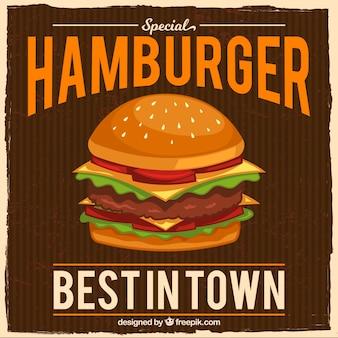 Vintage achtergrond met smakelijke hamburger