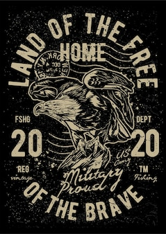 Vintage adelaar, vintage illustratie poster.