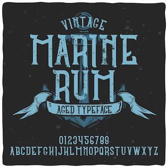 Vintage alfabet lettertype genaamd marine rum.