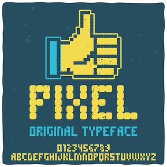 Vintage alfabet lettertype genaamd pixel.