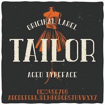 Vintage alfabet lettertype genaamd tailor en mannequin