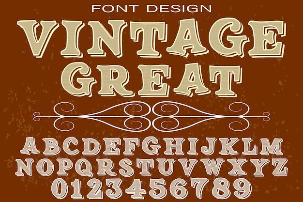 Vintage alfabet lettertype ontwerp geweldig