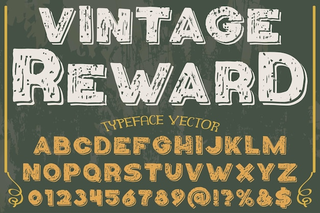Vintage alfabet typografie lettertype ontwerp beloning