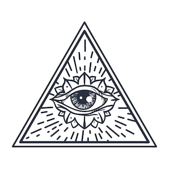 Vintage all seeing eye in triangle.