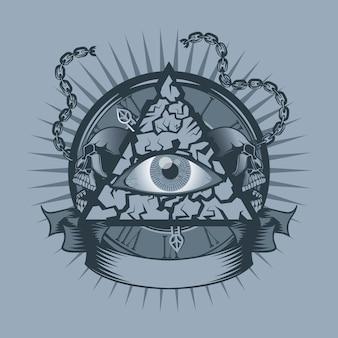 Vintage allen zien eye in triangle met horloges