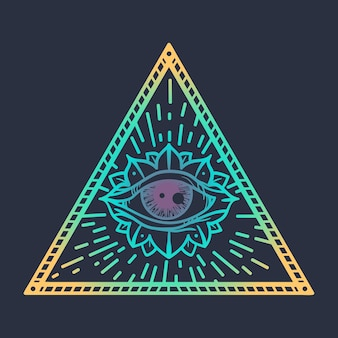 Vintage alziend oog in driehoek providence magisch symbool