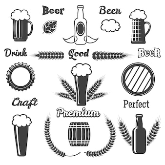 Vintage ambachtelijke bierelementen instellen