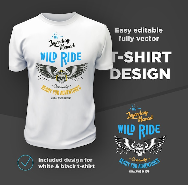 Vintage american bikers club print vector geïsoleerd op wit t-shirt.