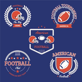 Vintage amerikaanse voetbal badge collectie