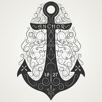 Vintage anker hand getekend zwart logo