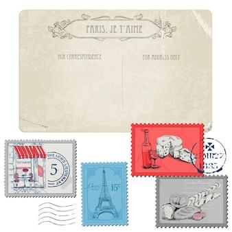 Vintage ansichtkaart met set postzegels