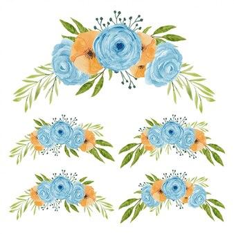 Vintage aquarel bloemboeketcollectie