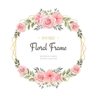 Vintage aquarel bloemen bloemen engagement frame