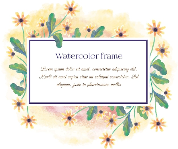 Vintage aquarel bloemenframe met typografie