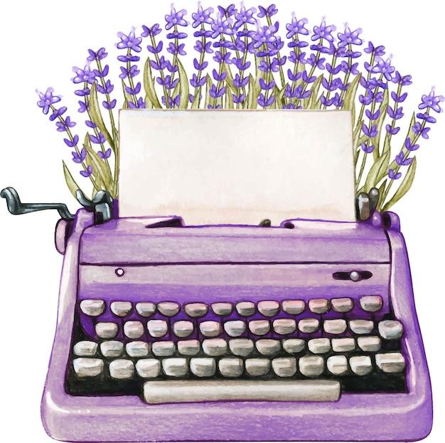 Vintage aquarel lavendel typemachine blanco vel