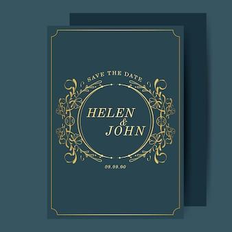 Vintage art-nouveau bruiloft uitnodiging kaart mockup vector