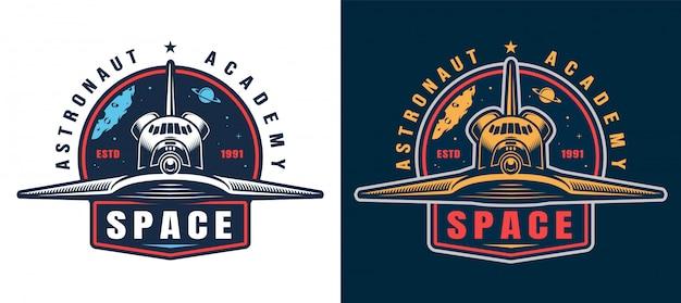 Vintage astronauten academie embleem set