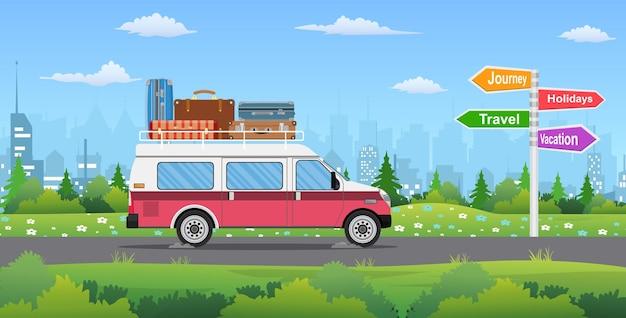 Vintage auto in de stad. reizen, reis, vakantie verkeersbord.