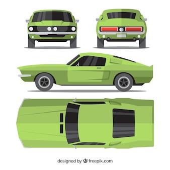 Vintage auto in verschillende uitzichten