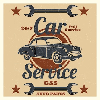 Vintage auto service logo - auto reparatie grunge