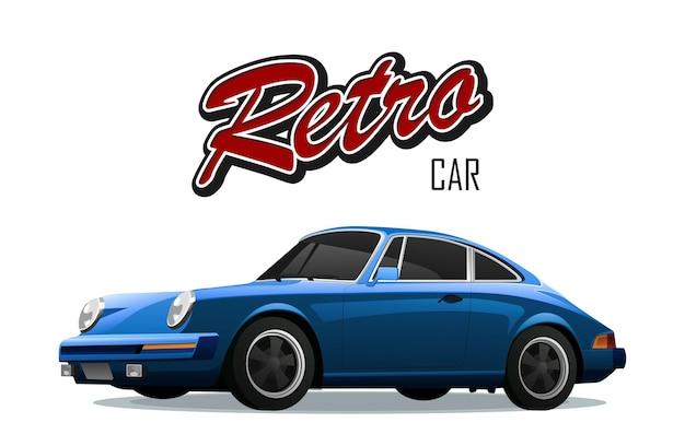 Vintage auto. sportauto. met teken retro auto.