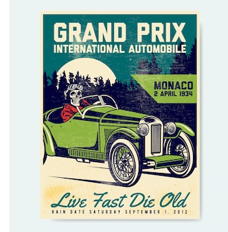 Vintage automobiel poster