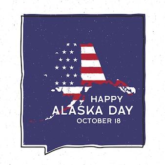 Vintage avontuur alaska day badge afbeelding ontwerp. buiten amerikaanse staat embleem met usa vlag en tekst - happy alaska day 18 oktober. ongewone amerikaanse hipster stijl sticker. voorraad vector.
