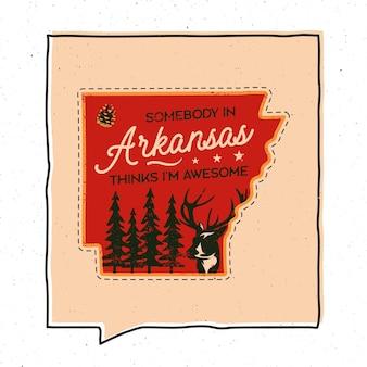 Vintage avontuur arizona badge afbeelding ontwerp. openlucht embleem van de staat van de vs met bos, herten en tekst - iemand in arizona denkt dat ik geweldig ben. ongewone sticker in amerikaanse hipsterstijl. voorraad vector.