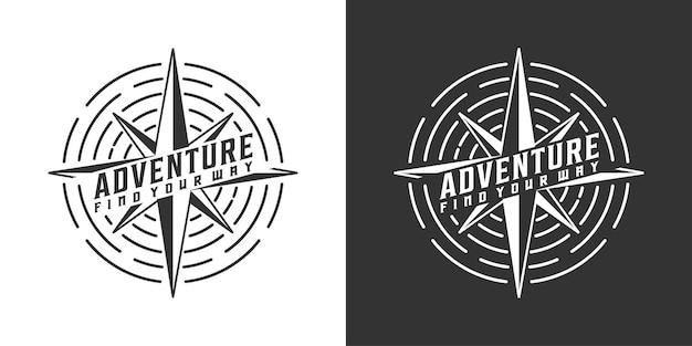 Vintage avontuur en kompas logo ontwerp inspiratie
