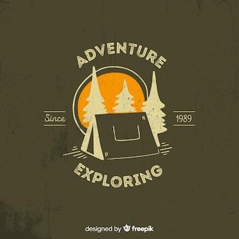 Vintage avontuur logo achtergrond