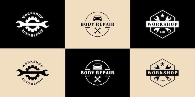 Vintage badge auto reparatie logo ontwerp collectie