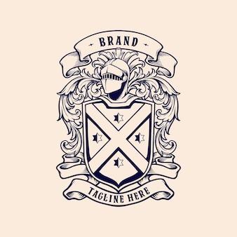 Vintage badge koninkrijk klassieke ornamenten illustraties